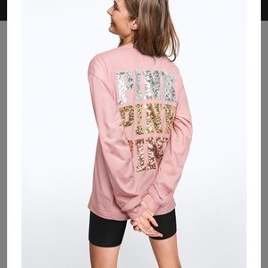NEW!!  VS PINK bling campus long sleeve tee!